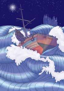 Let The Faithful Come, Boat scene, illustration courtesy of Zetta Elliot & Charity Russell.